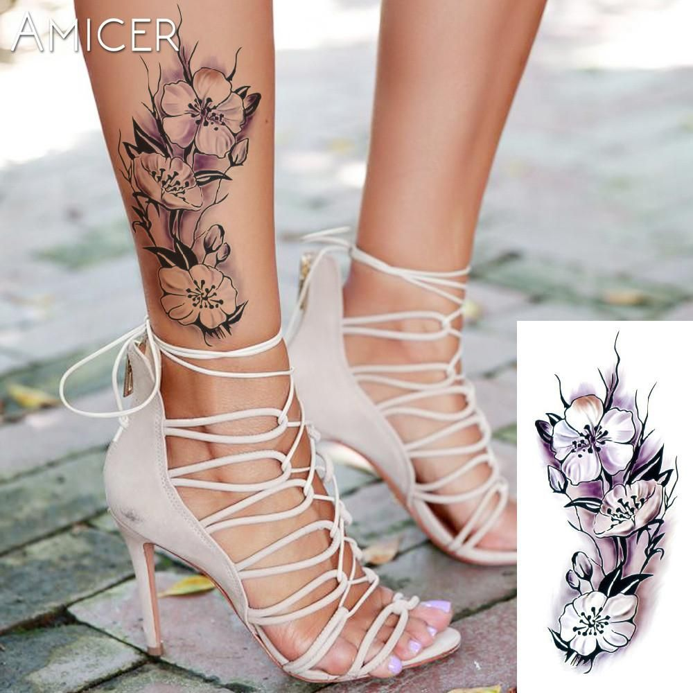 Romantic dark rose flowers flash hennatemporary tattoos stickers