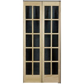 Shop Pinecroft Solid Core 10 Lite Pine Bi Fold Closet Interior Door Common 36 In X 80 In Actual French Doors French Doors Interior Bifold Doors
