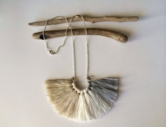 White noise silver plated chain Ombre fiber tassel by NinaPaco