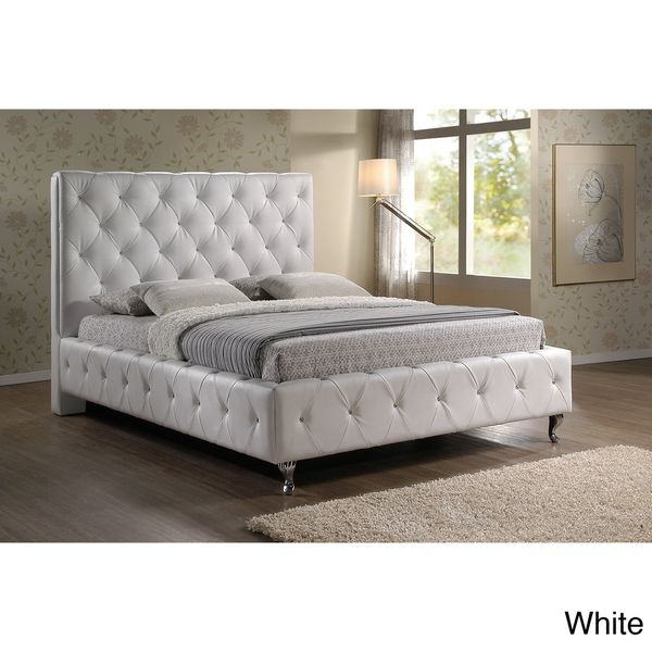 Stella Crystal Tufted White Modern King-size Bed with Upholstered Headboard  with crystal button tufts. Rhinestone ... - Rhinestone Bed Frame Show Home Design