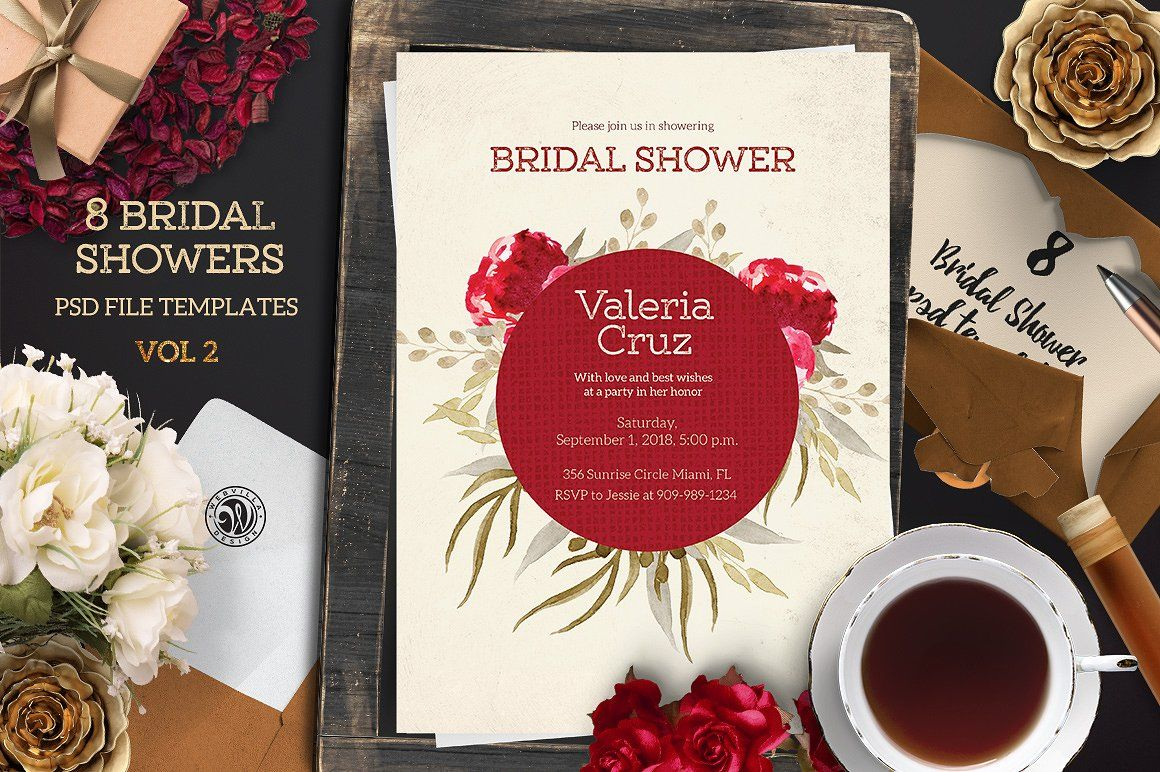 Ad: present 8 Bridal Shower templates vol. 2 - PSD files - ready to ...