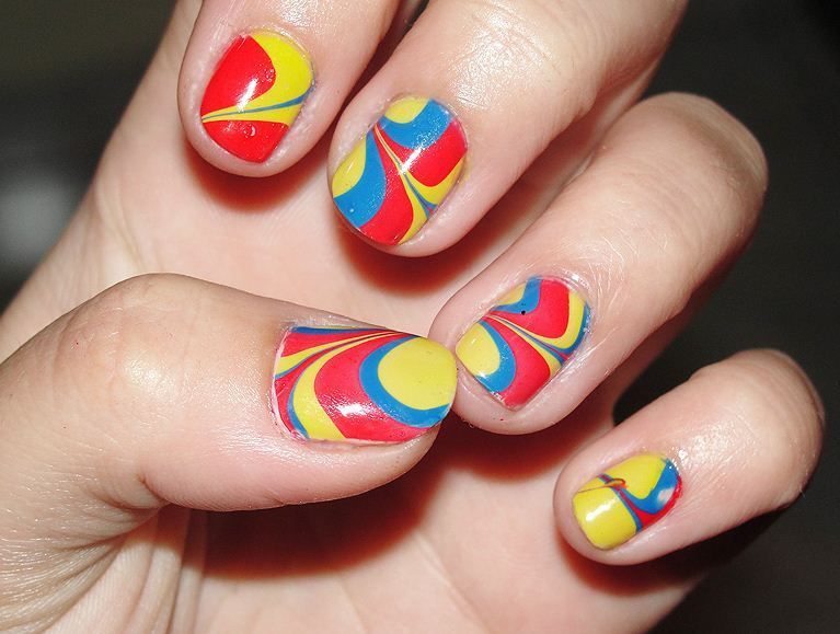 Water Marble Nail Art For Beginners And Short Nails Nail Designs