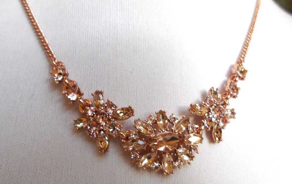 GIVENCHY CLEAR CRYSTAL ROSE TONE  FRONTAL NECKLACE #GIVENCHY