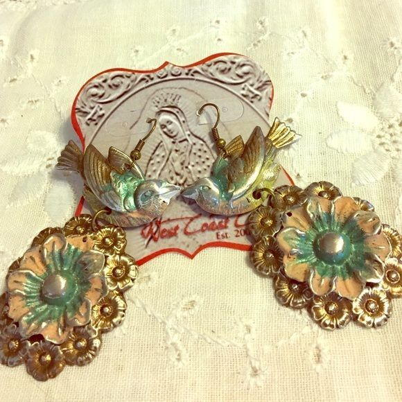 West Coast Cowgirl Bird & Flower Earrings Southwest Style New Free Shipping
