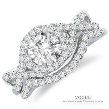 Gorgeous 14K White Gold Halo Diamond Engagement Ring with Exquisite Criss-Cross Sides.