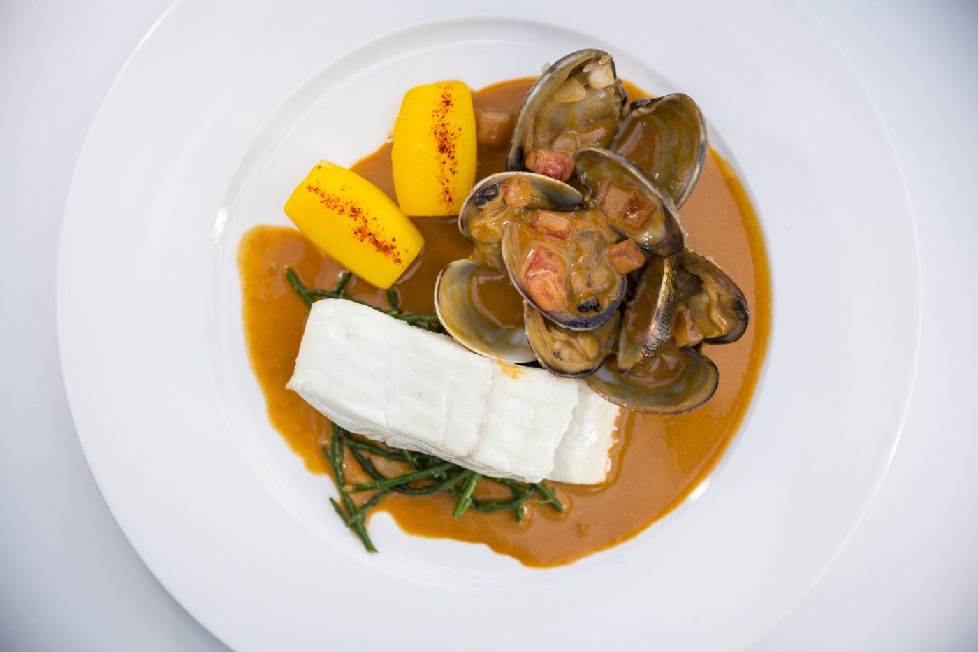 Poached halibut lobster bisque samphire dorset clams saffron poached halibut lobster bisque samphire dorset clams saffron potato malvernweather Choice Image