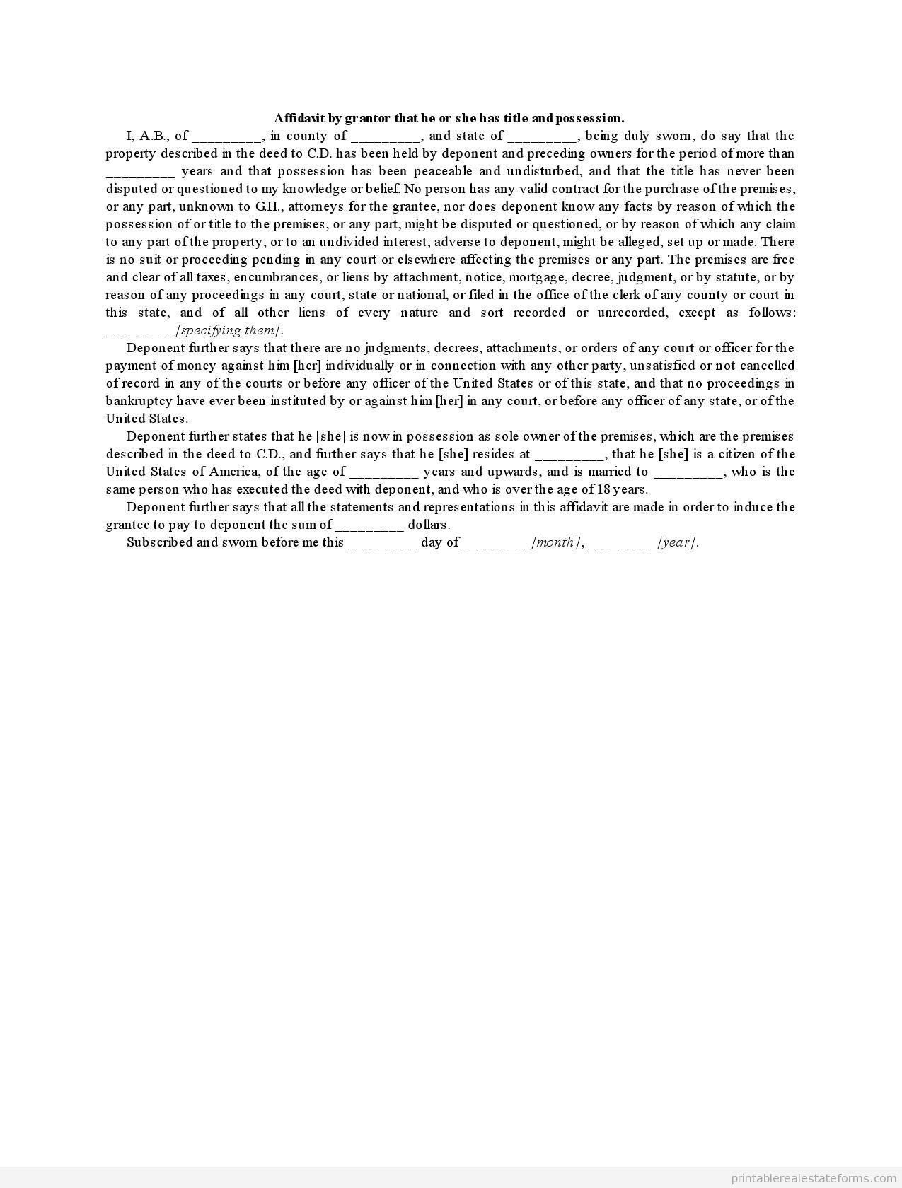 Sample Printable affidavit by grantor that he or she has title and ...