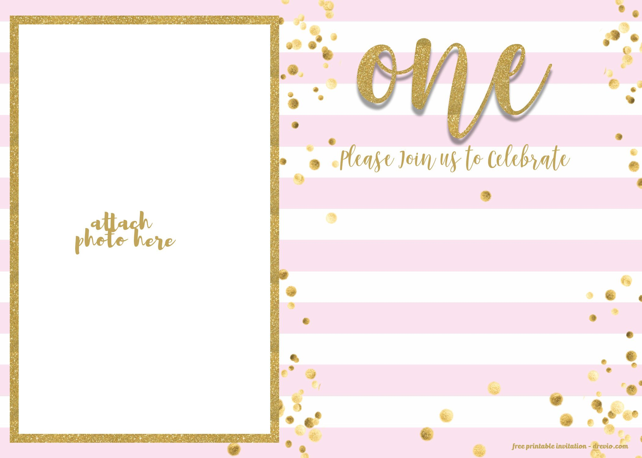 Get FREE 1st Birthday Invitation Pink And Gold Glitter Template