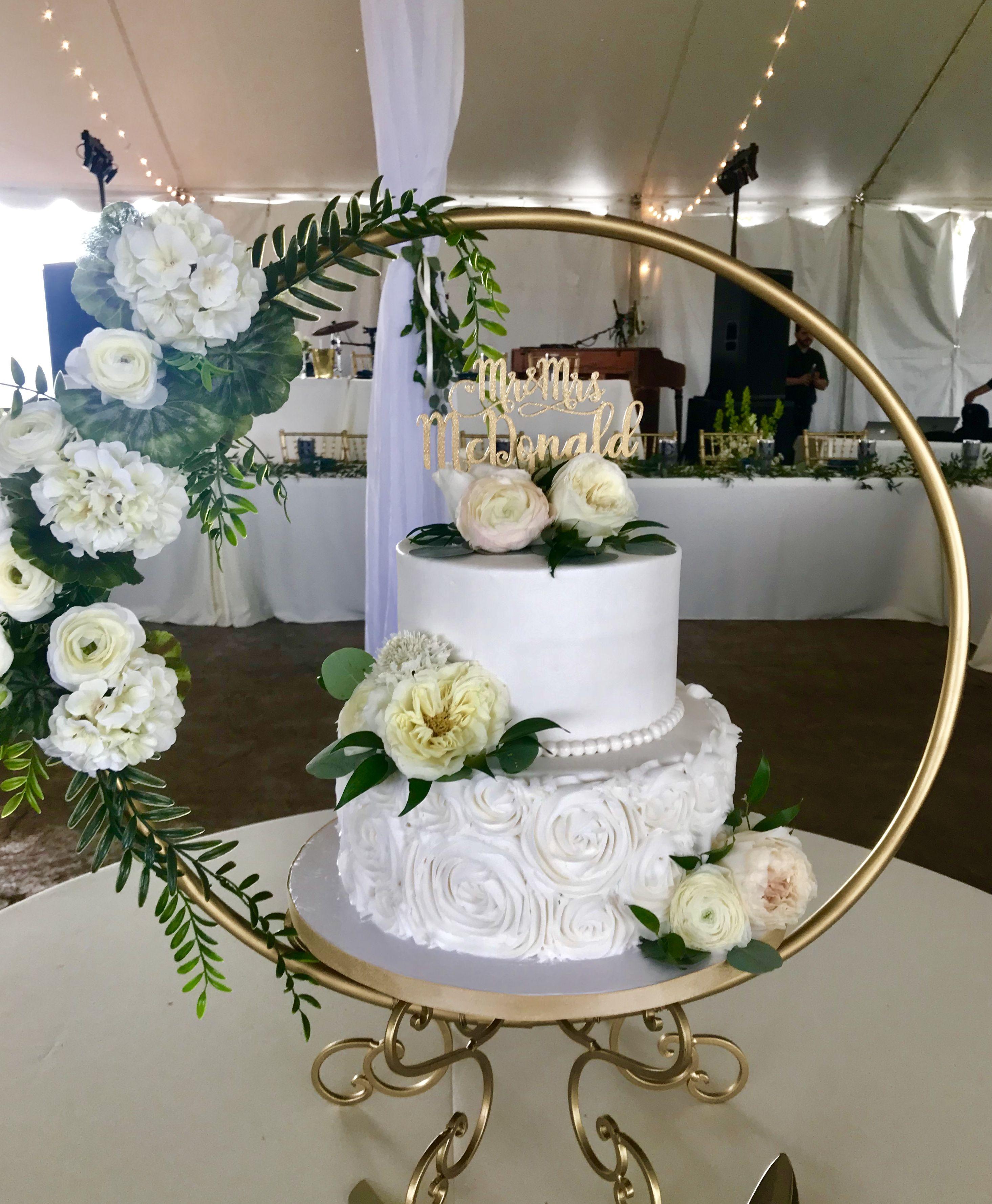 Beautiful white wedding cake with greenery and white