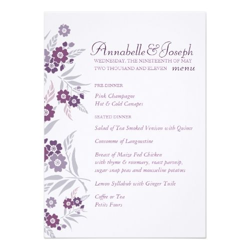 Spring Wedding Menu Cherry Blossom Card