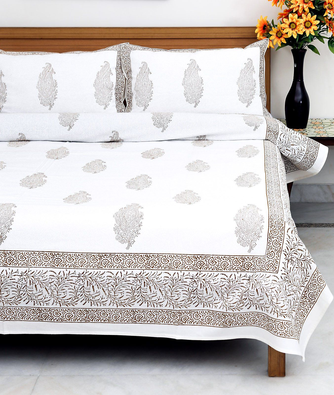 White & Gold Khadi Block Printed Bedsheet with 2 Pillow Covers