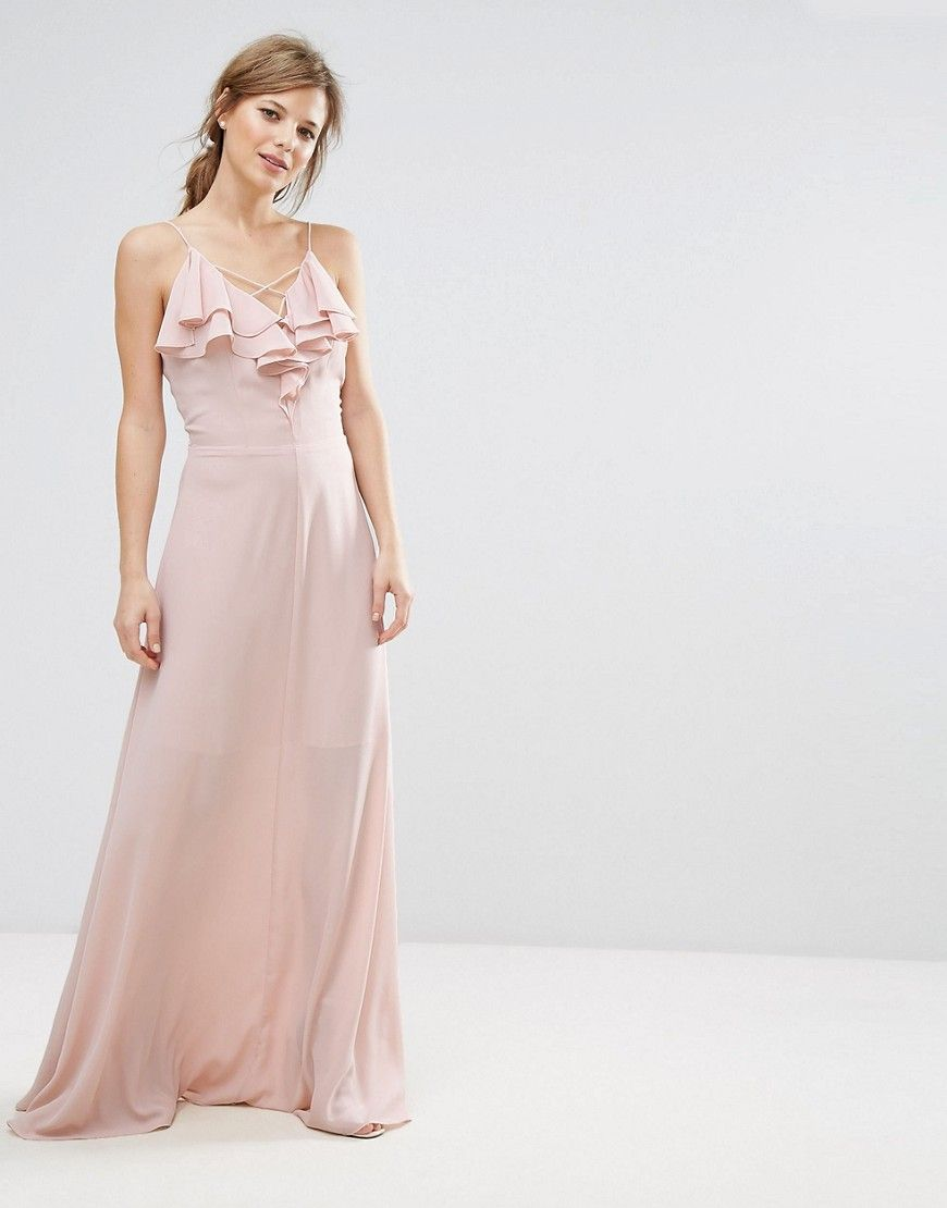 New look ruffle front maxi dress beige maxi dresses and products