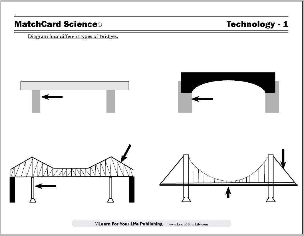students learn to recognize and build models of the four main types of bridges with the matchcard science worksheet  [ 1065 x 828 Pixel ]