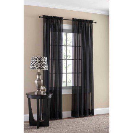 Mainstays Marjorie Sheer Voile Curtain Panel Walmart Com Voile