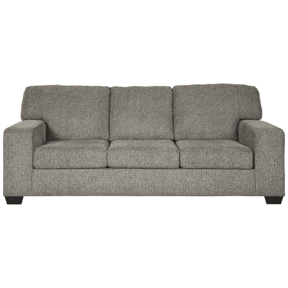 This handsome sofa is a blank canvas for you to style to your hearts content Warm granitegray color sets the scene for your favorite throw pillows Cushions of comfort del...