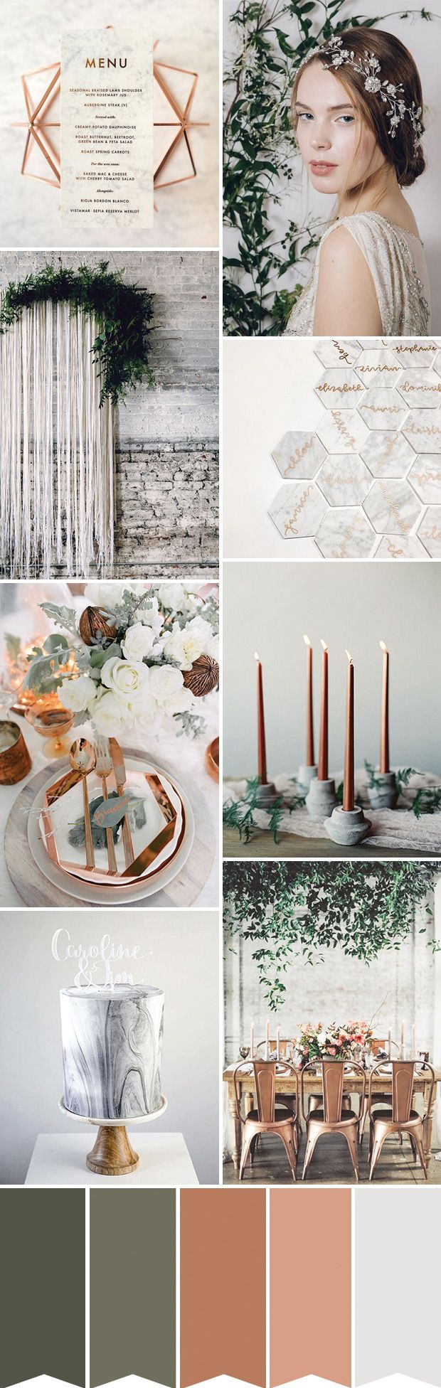 Industrial Elegance: A Copper and Marble Inspired Wedding | Party ...