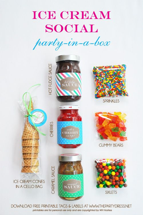 "Contents of ice cream social ""party-in-a-box"" idea from @WH Hostess  #thepartydressmagazine #freedownload"
