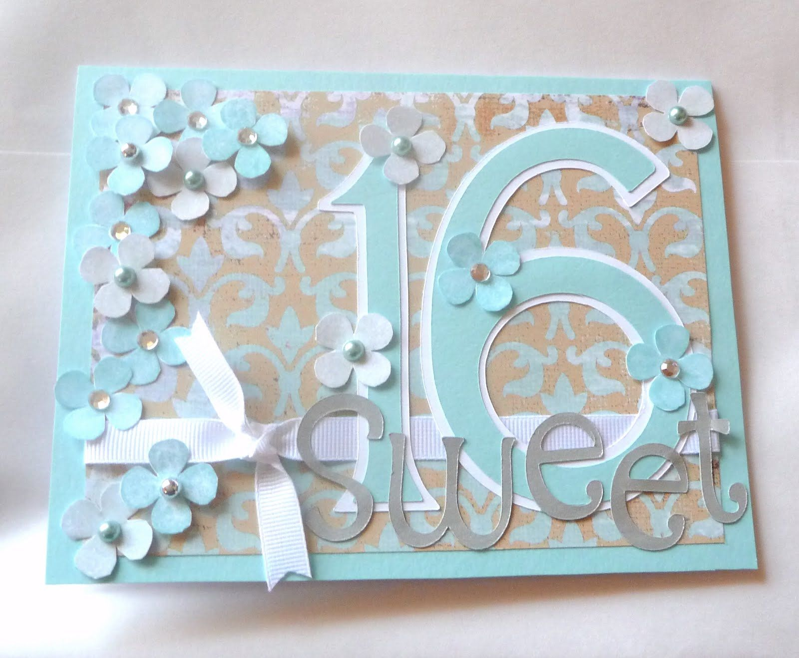 With Love From Sophie N Me Sweet Sixteen Birthday Card 16th Birthday Card Birthday Card Sayings Cricut Birthday Cards