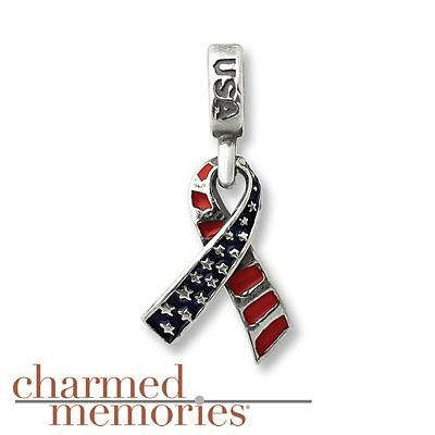 Charmed Memories Patriotic Ribbon Charm Sterling Silver- Build Your Bracelet