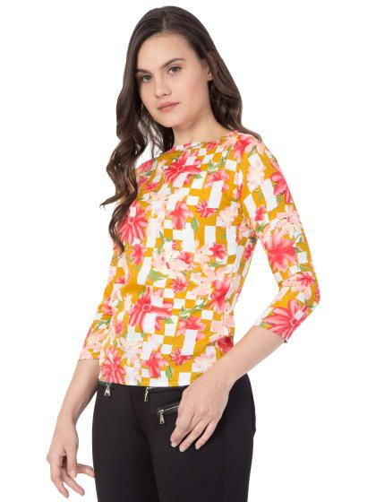 00d1f7275 Stylish american crepe ball sleeved colour block ruffle White Printed  cotton Frill Top for women girls