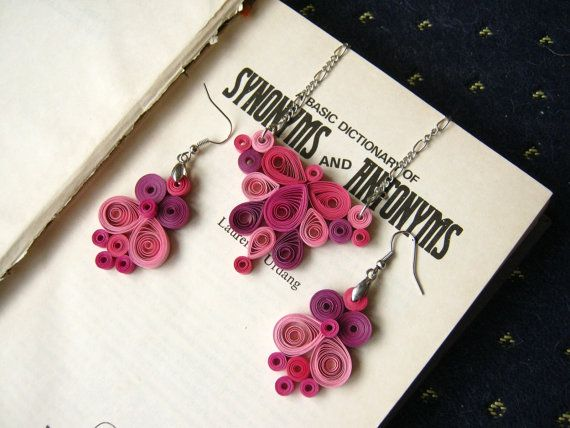 1st Wedding Anniversary Gift For Wife: Pink Paper Jewelry Set, First Anniversary Gift Gift For