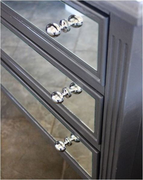 how to make your own mirrored dresser..Looks really easy the hard part will be finding the right piece of furniture....
