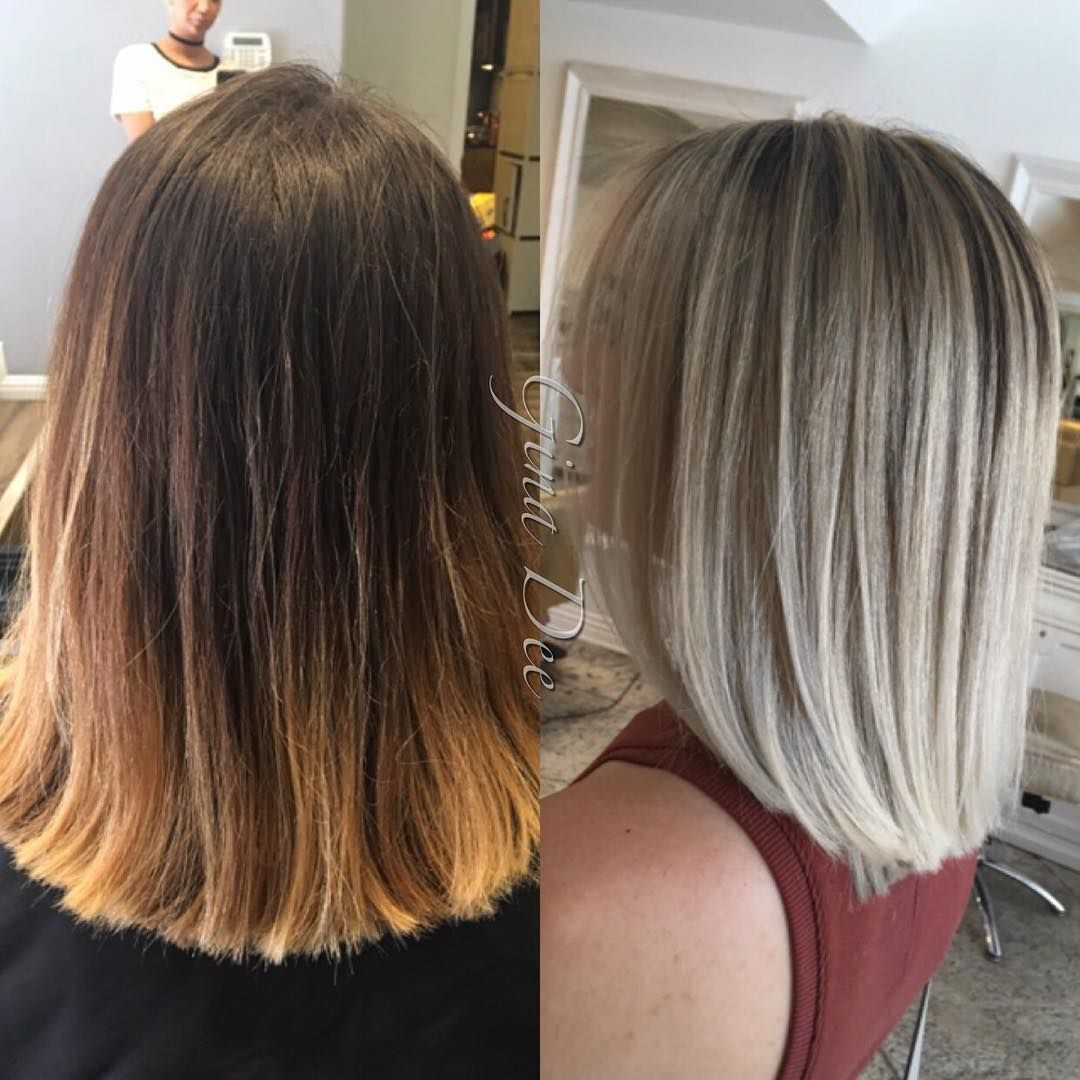 Before After Complete Transformation From Brassy To Beautiful Blonde Balayage Hair Love Blonde Brown Blonde Hair Brunette To Blonde Balayage Hair