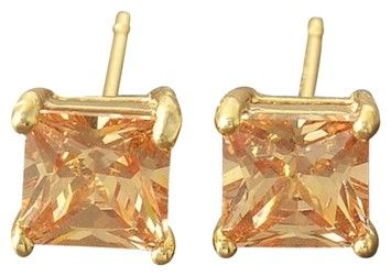 9K Gold Filled Champagne CZ Stud Earrings