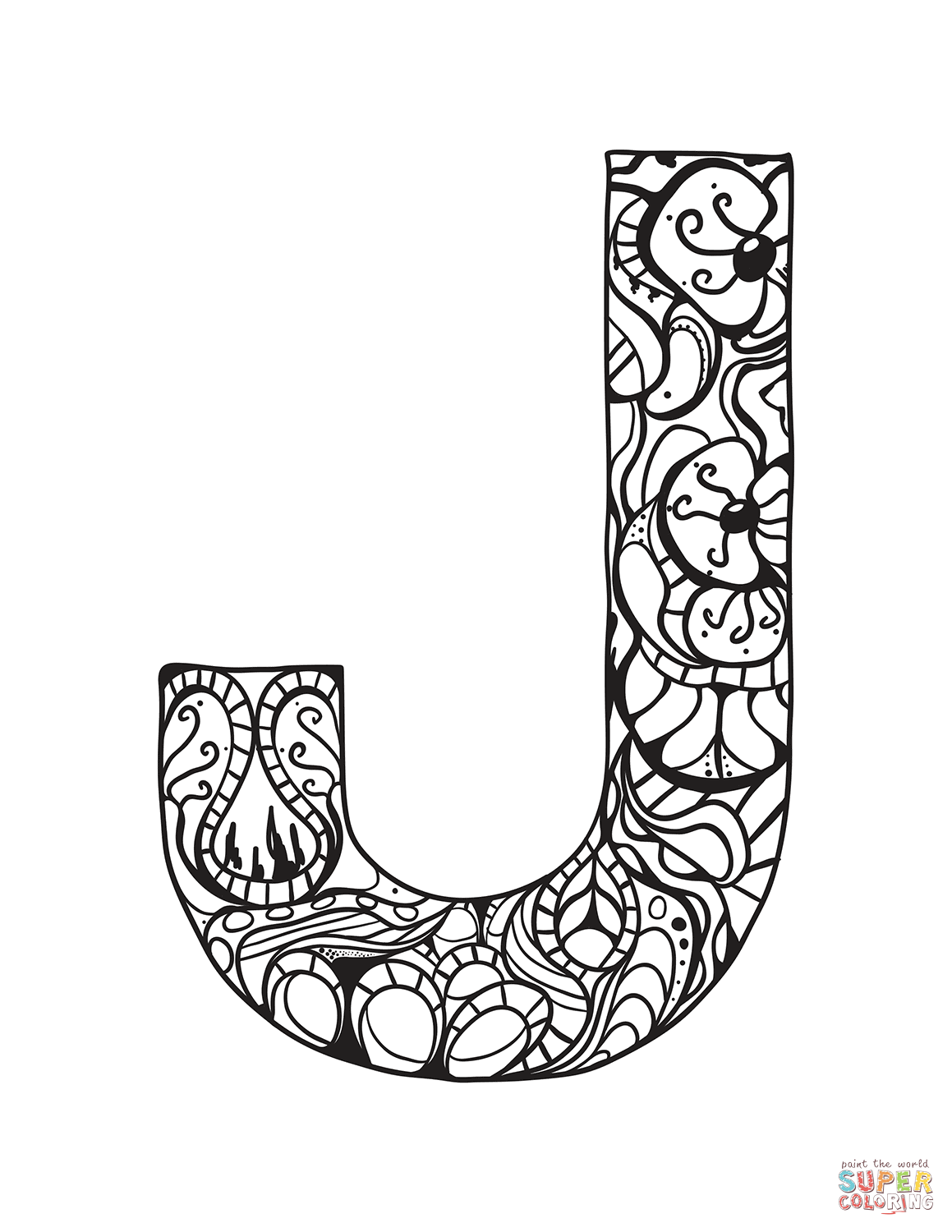 Letter j zentangle coloring page free printable coloring pages