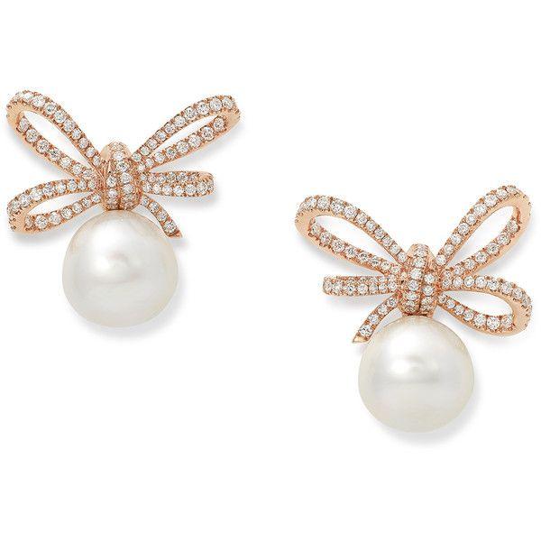 Women s Rose Gold Earring by Vanleles Diamonds Lyla s Bow Pink