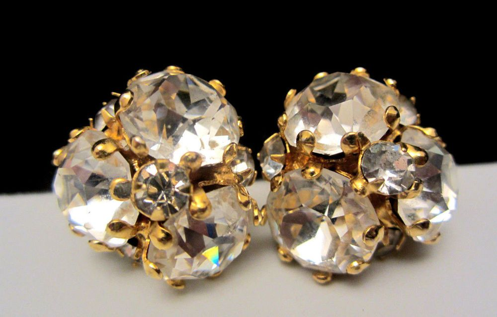 Rare Vintage 1 Signed Vogue Goldtone Rhinestone Clip On Earrings A62 Cer