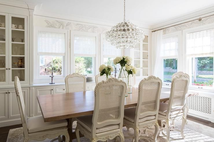 French Dining Room With Built In China Cabinet Transitional Fair White Dining Room Cabinet Design Decoration