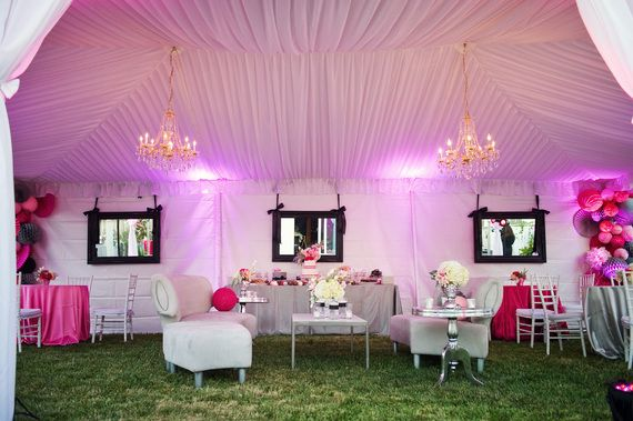 A chic backyard tent for a modern whimsical 30th birthday party