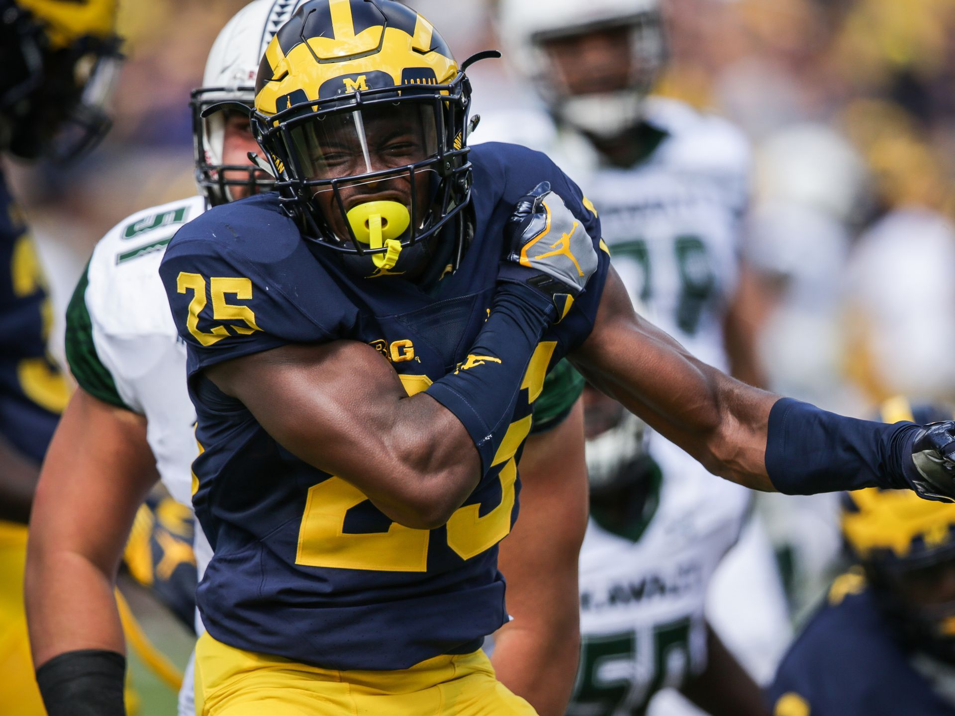 Michigan Wolverines safety Dymonte Thomas after making a