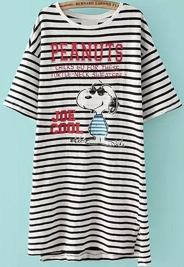 Snoopy Print Striped Long T-shirt 14.17
