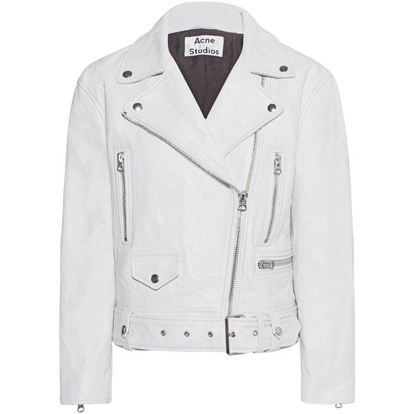 ACNE STUDIOS Merlyn Memory White // Leather biker jacket (1.234.175 CLP) ❤ liked on Polyvore featuring outerwear, jackets, leather jacket, oversized leather jacket, white moto jackets, asymmetrical zipper jacket, biker jacket and leather belt