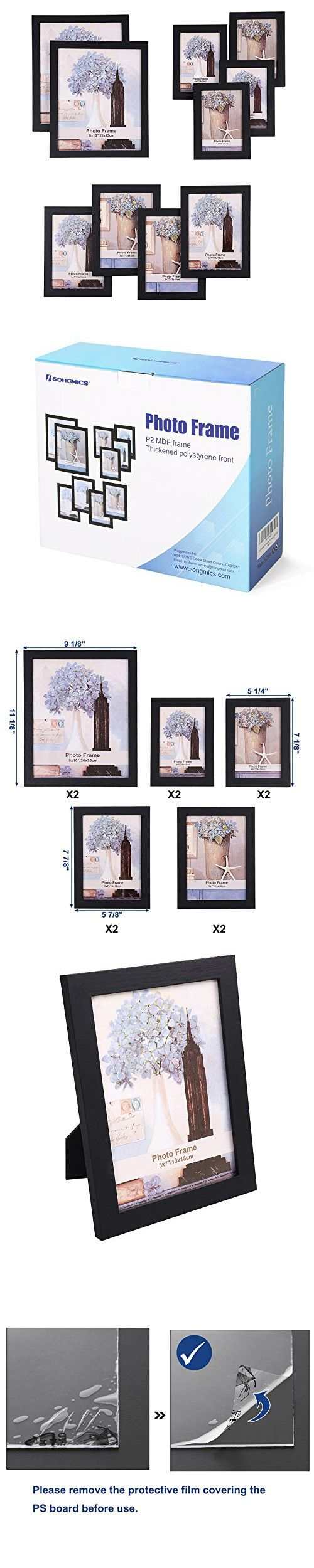 SONGMICS Picture Frames Set of 10 Photo Frame - Two 8x10 in, Four ...