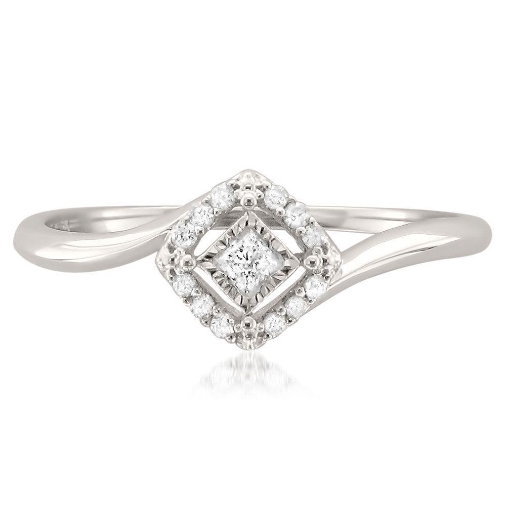 K white gold princesscut u round diamond promise ring cttw