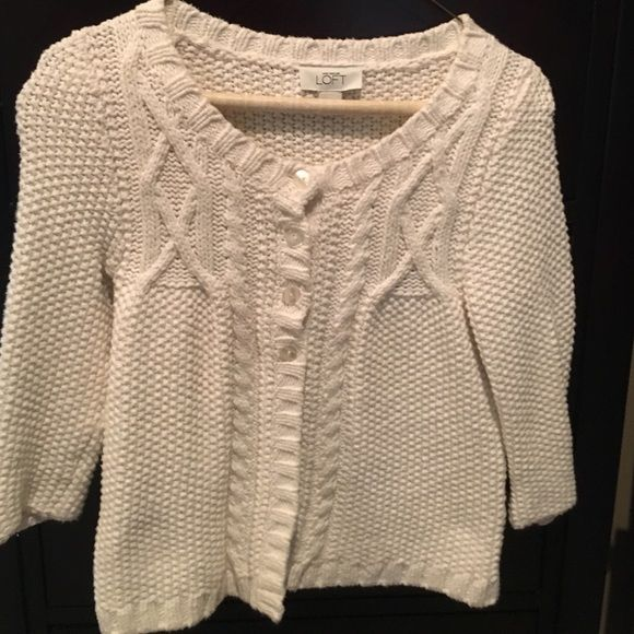 Ann Taylor Loft size XS cardigan in cream color. Ann Taylor Loft size XS cardigan in cream color.  Perfect condition!!! Ann Taylor Sweaters Cardigans