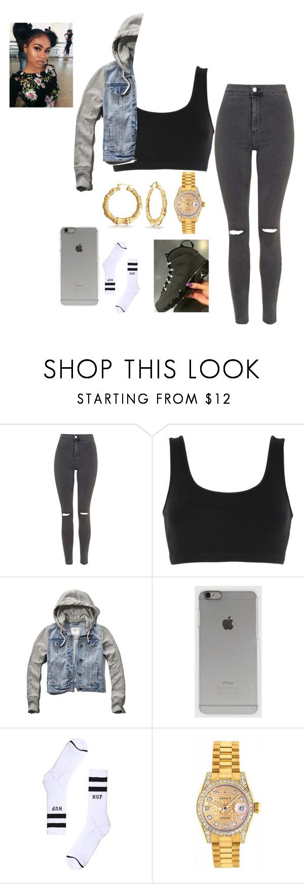 """""""OOTD"""" by mamialsina on Polyvore featuring Topshop, adidas Originals, Abercrombie & Fitch, Incase, HUF, NIKE, Rolex and Bling Jewelry"""