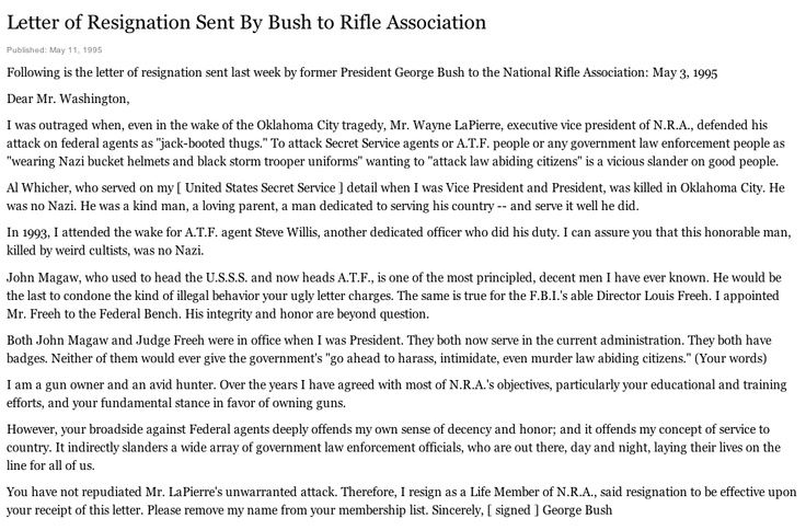 Letter Of Resignation Sent By Former President George H W Bush