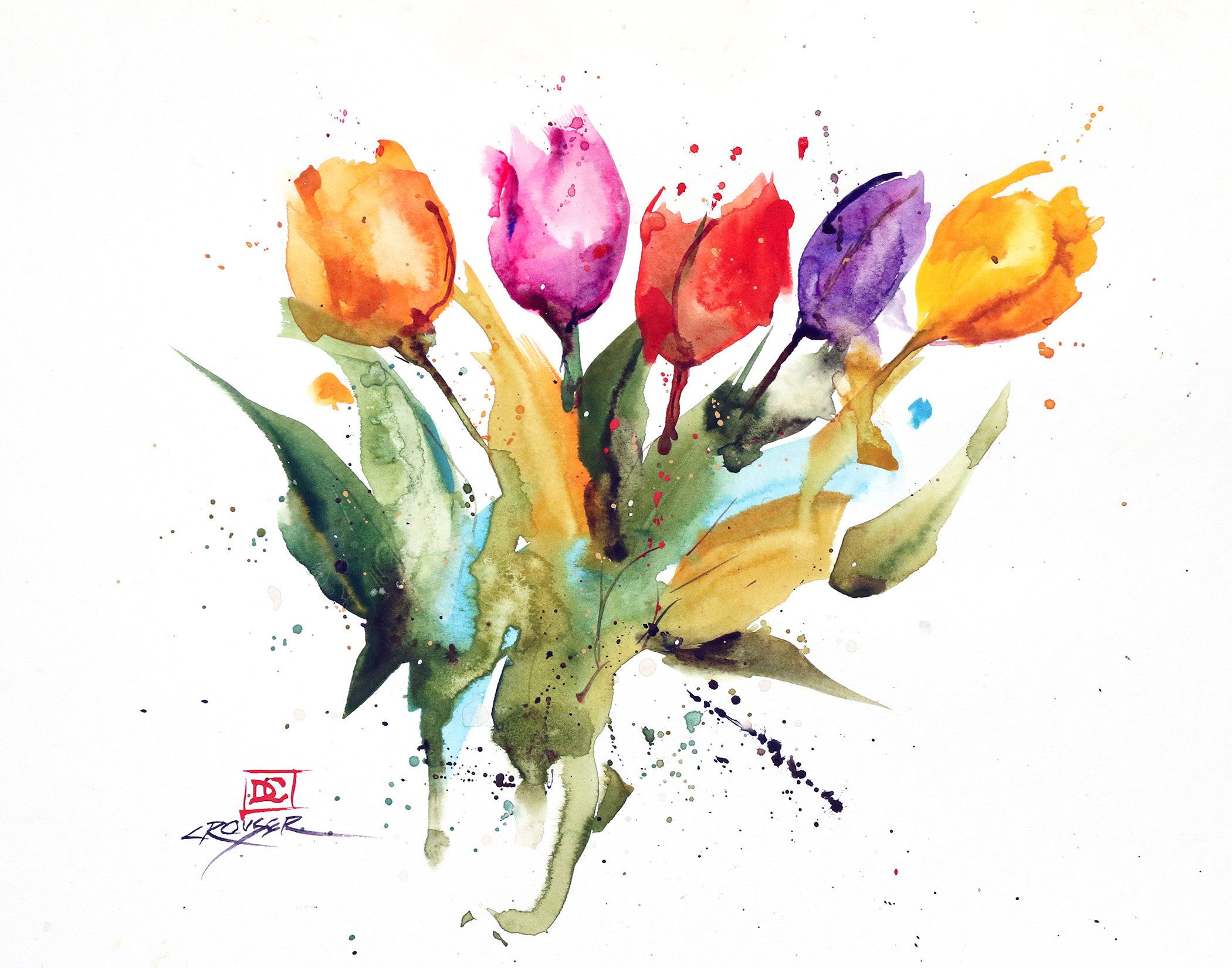 Tulips Original Floral Watercolor Painting By Dean Crouser In