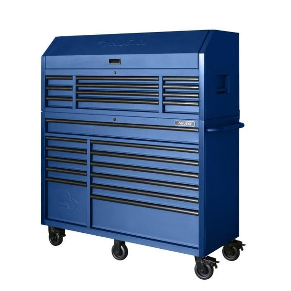 Husky Heavy Duty 56 In W 23 Drawer Combination Tool Chest And Cabinet Set Matte Blue Hotc5623bl2s The Home Depot Tool Chest Workbench With Storage Small Parts Organizer