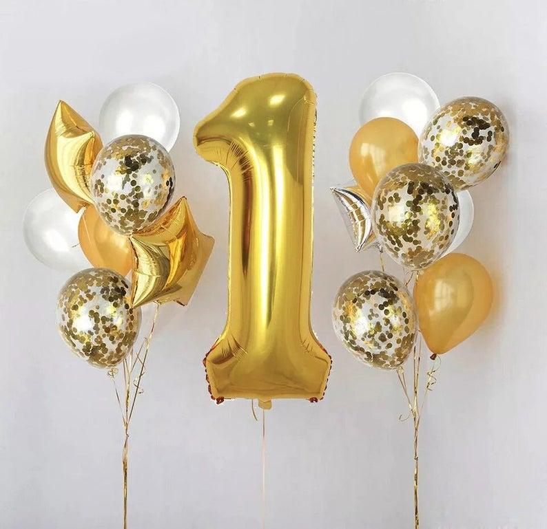 1st Birthday Party Balloons First Birthday Balloon Gold Number 1 Balloon Number 1 Foil Balloons 1st Birthday Party Gold Baby Party Deco Anniversaire Idee Deco Anniversaire Idee Soiree Anniversaire