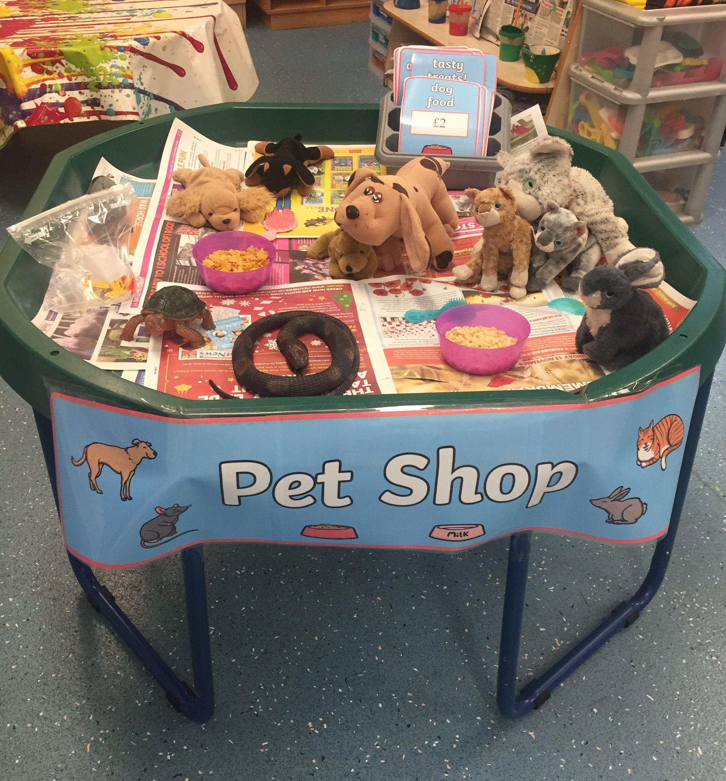 Eyfs Role Play Pet Shop Investigation Tray The Children Loved Feeding The Different Pets And Taking Them To The Home Corner Pet Shop Pet Daycare Pets For Sale