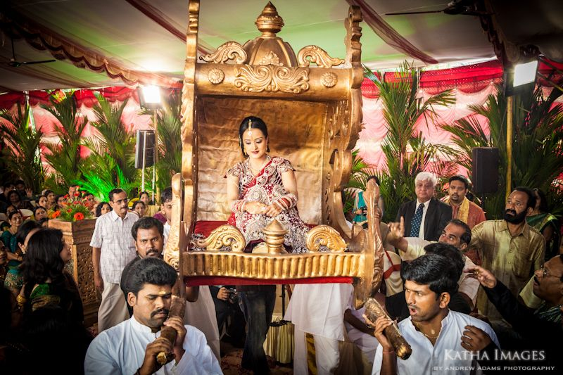 The Bride Makes Her Grand Entrance On Guilded Palanquin Kerala Photo By Andrew Adams