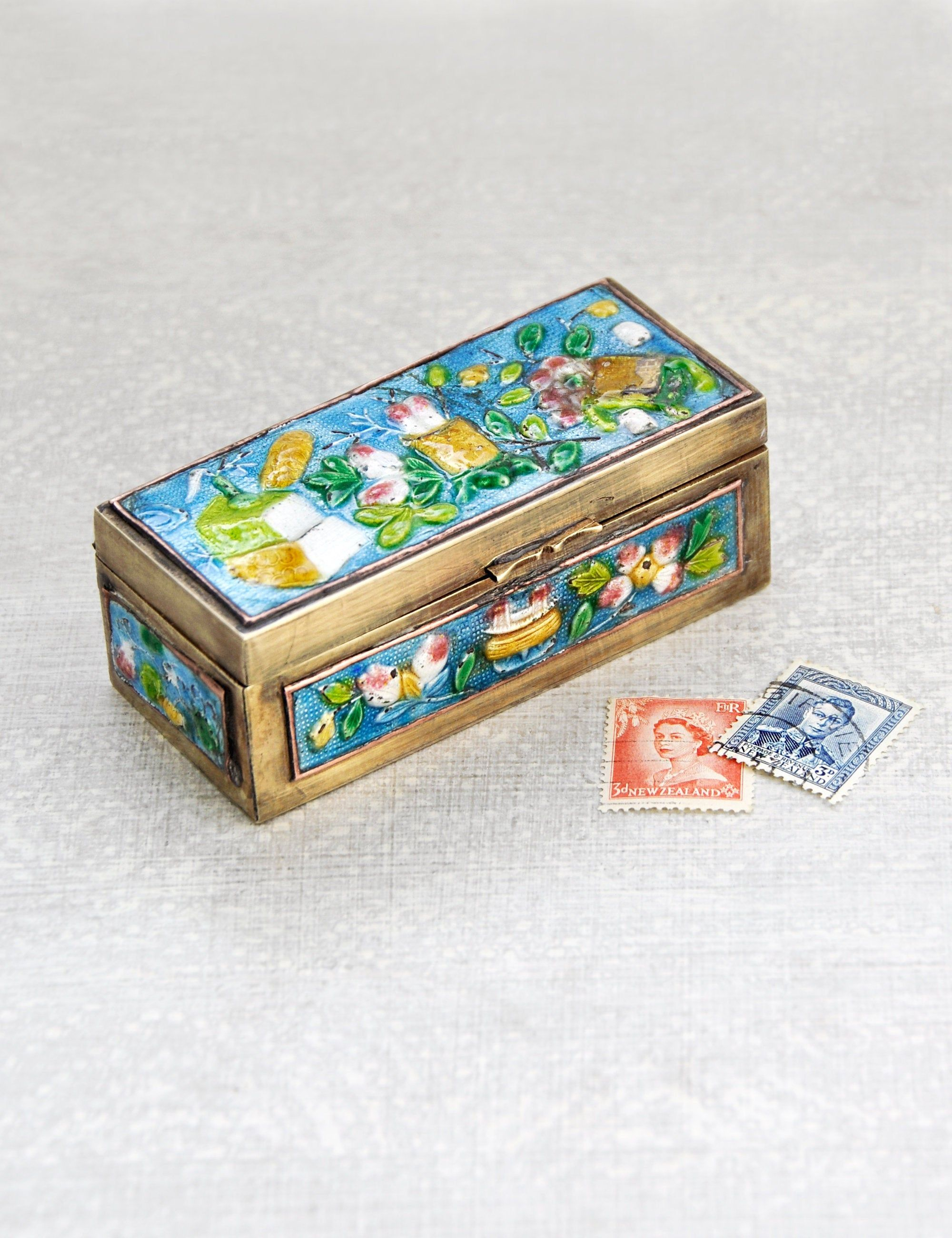 Antique Enamel Stamp Box Small Chinese Brass Rectangular Etsy Trinket Boxes Hinged Lid Small Boxes