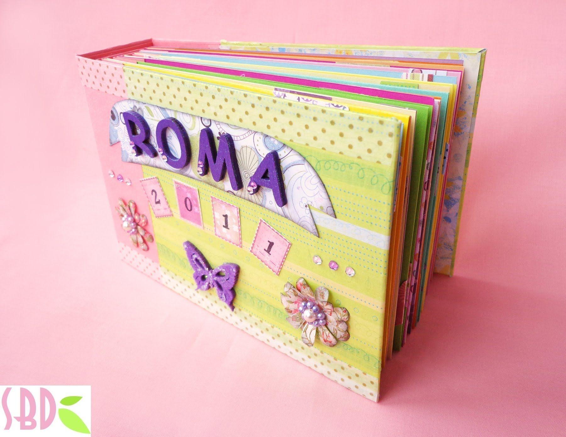 Mini álbum Roma, encuadernación sencilla.