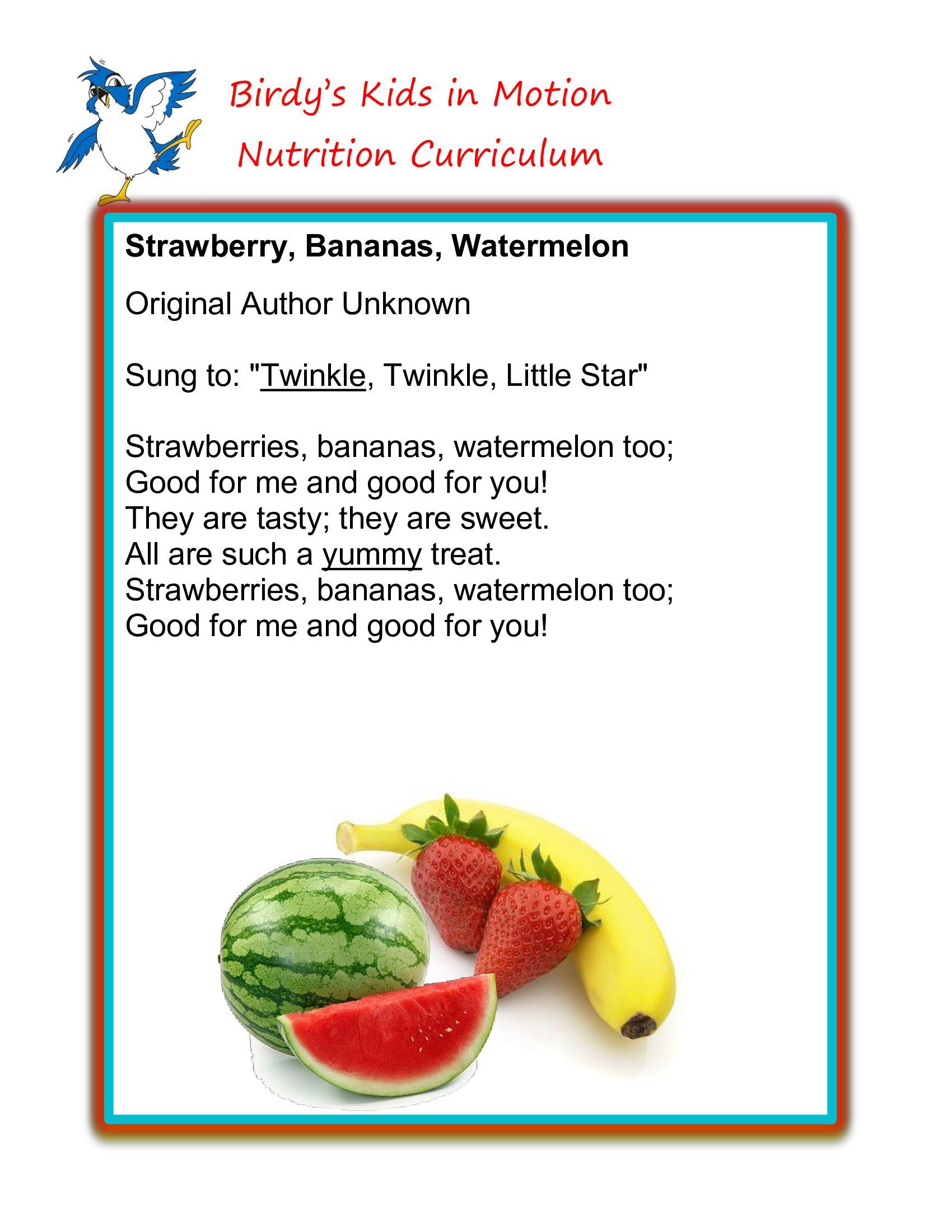 """Strawberry, Bananas and Watermelon"" Song"