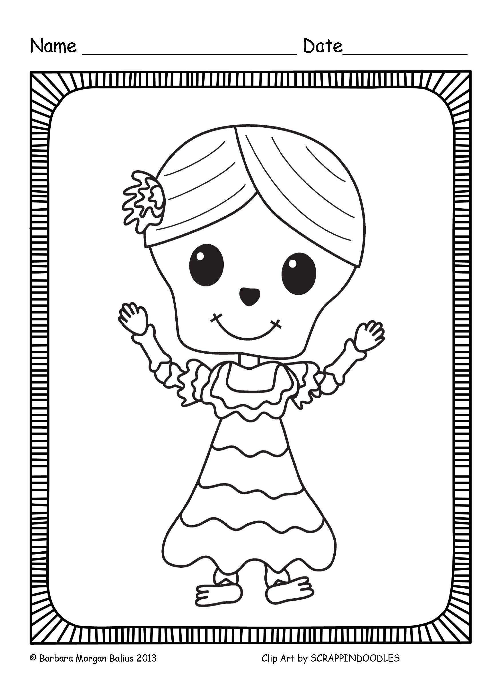 Dia De Los Muertos Coloring Sheets Halloween Crafts For